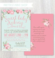 Printable baby shower invitation - Floral and Lace - Pink and mint - Baby shower - Baby girl shower - Bring a book card - Customizable by PrettiestPrintShop on Etsy https://www.etsy.com/listing/239045830/printable-baby-shower-invitation-floral