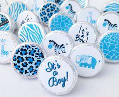 Blue Sweet Safari Jungle Boy Baby Shower Favors 108 Stickers for Hershey Kisses #BabyShower