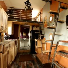 Modern-day features are sprinkled throughout this steampunk tiny home, filled with valves, gears and massive amounts of metal.