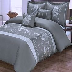 5pc modern floral dark grey cotton bedding duvet cover se https