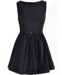 rachel antonoff - belted velvet leith dress in navy.