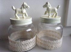 White vintage look-a-like horse jar