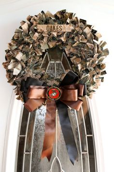 Marine Corps Desert/Woodland Mixed Cammie and Bow Wreath (buyer supplies cammies)