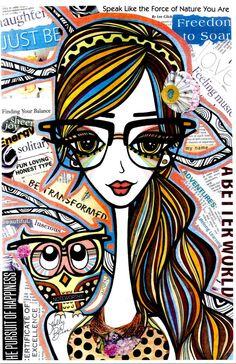 Naomi: Positive Girls with Owls Art Decor by HollyBlissArt on Etsy Zen Art, Arte Pop, Illustrations And Posters, Whimsical Art, Funny Art, Face Art, Art Pictures, Art Girl, Art Decor
