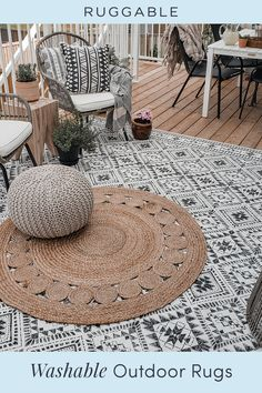 Our washable outdoor area rugs will transform your space into a stylish haven that you'll never want to leave. Back Patio, Small Patio, Outdoor Rooms, Outdoor Living, Outdoor Decor, Backyard Pool Landscaping, Babe, Backyard Projects, Patio Design