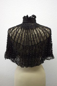 Victorian Cape Silk Heavily Beaded Jet Black Mourning Capelet - Museum-Quality French design - a RARE piece for display or wearing. $750.00, via Etsy.