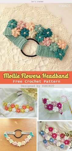 Make lovely and beautiful headbands with the Mollie Flowers Headband Free Crochet Pattern. The headbands will make you look more charming and elegant. Bandeau Crochet, Crochet Headband Free, Crochet Flower Headbands, Headband Flowers, Crochet Flowers, Knit Headband, Headband Baby, Crochet Eyes, Crochet Diy