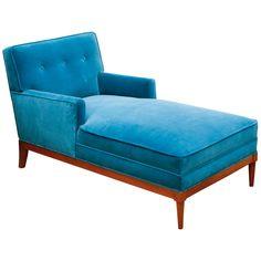 1stdibs.com | Mid-century Turquoise Velvet Chaise