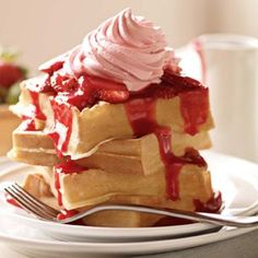 A triple dose of strawberries from a lightly sweetened puree, strawberry whipped cream and sliced fresh berries.