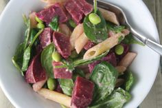 roasted beet and edamame pasta with creamy tahini sauce | Dishing Up the Dirt