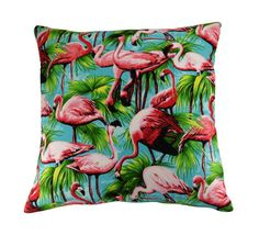 Pink Flamingo Cushion Cover, Retro Cushion, Bird Cushion, Colourful Cushion, Flamingo Pillow Cover, 16x16 inches