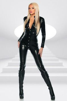 about Womens Wet Look Jumpsuit One Piece Faux Leather Catsuit Bodysuit Romper Clubwear Picture 5 of 6 Leather Bodysuit, Leather Jumpsuit, Black Bodysuit, Women Lingerie, Sexy Lingerie, Pvc Catsuit, Black Catsuit, Mode Latex, Corpo Sexy