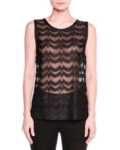 W0BR3 Missoni Sheer Zigzag Sleeveless Top, Black