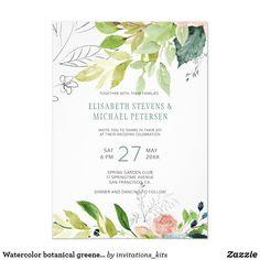 Watercolor botanical greenery foliage wedding invitation