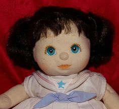 Vintage 1985 Mattel My Child Doll-Dark Brown Hair, BLUE Eyes Sailor Dress  #Dolls