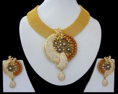 Indian Jewelry CZ AD Golden Bollywood Bridal Antique Finish Necklace Set Swam598 #Unbranded