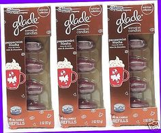 12 REFILLS Glade PEPPERMINT MOCHA Mint Chocolate Scented Oil Candles (3 PACKS)