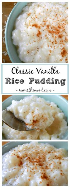 This Classic Vanilla Rice Pudding is simple to make and highlights the flavor of vanilla as the crown jewel. A favorite recipe of mine with a sprinkle of cinnamon! Check out this classic vanilla rice pudding! Yummy Recipes, Rice Pudding Recipes, Creamy Rice Pudding, Sweet Recipes, Cooking Recipes, Rice Puddings, Stovetop Rice Pudding, Vanilla Pudding Desserts, Vegan Rice Pudding