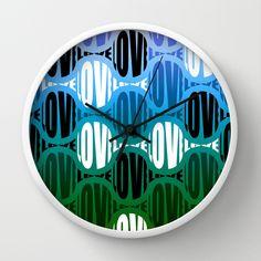 Blue/Green Big Love Wall Clock