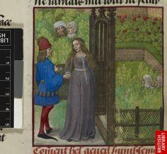 Guillaume de Lorris and Jean de Meun, Roman de la Rose    Netherlands, S. (Bruges); c. 1490-c. 1500   Bel Accueil and the Lover