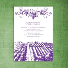 brown rustic vineyard wedding invitations