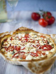 Tarte tomate fromage de chèvre et moutarde
