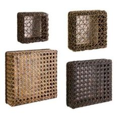 Rattan sea grass baskets-I would hang reverse and use them as floating wall shelves