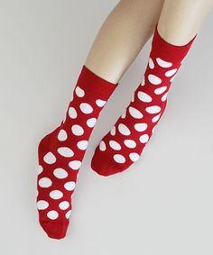 Red and white polka dot socks! #red #fashion #polka dots