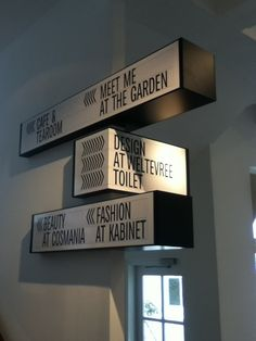 Droog hotel signage in Wayfinding
