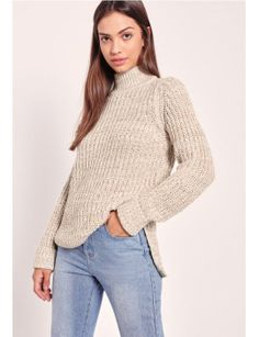 side-split-roll-neck-jumper-nude by missguided #fashion #trends #onlineshopping #shoptagr