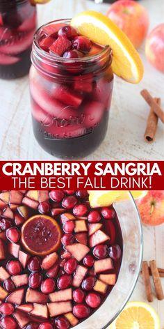 Cranberry Sangria, Fall Sangria, Apple Sangria, Sangria Punch, Fall Recipes, Holiday Recipes, Yummy Recipes, Fall Punch Recipes, Apple Recipes