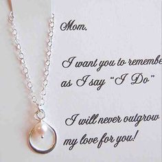Mother of the Bride card with silver infinity pearl necklace,mother of bride gift, boxed gift set for Mom via Etsy super cute idea Mother Of The Bride Necklaces, Mother Of The Groom Gifts, Wedding Gifts For Parents, Mother Of Pearl Necklace, Gifts For Wedding Party, Mother Gifts, Our Wedding, Dream Wedding, Trendy Wedding