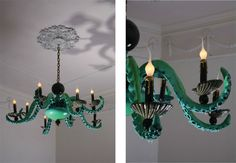 One, greenish, octopus chandelier for my beach house, please.