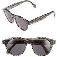 Illesteva 'Leonard' 47mm Sunglasses ($177) ❤ liked on Polyvore featuring accessories, eyewear, sunglasses, black frost, retro round sunglasses, round keyhole sunglasses, round sunglasses, plastic glasses and illesteva sunglasses