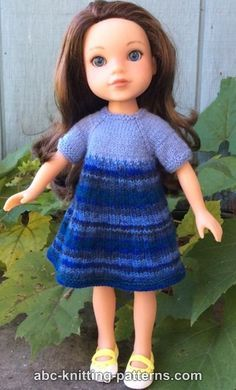 Wellie Wishers Doll Dress and Cardigan (14 inch doll) - http://www.abc-knitting-patterns.com/1446.html