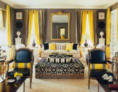 Fantastic color combo - gray and yellow via Mary McDonald  JUST love this