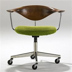 View Swivel Chair Designed by Hans J. Teak, wool and chromed steel; Access more artwork lots and estimated & realized auction prices on MutualArt. 1950s Design, Hans Wegner, Swivel Chair, Teak, Auction, Mid Century, Modern, Chairs, Furniture