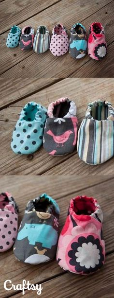 Babies grow out of their shoes way to fast. We reccomend sewing your own baby shoes out of fabric. They'll keep your baby's feet warm without breaking the bank. These colorful baby shoes make a beautiful gift for any new family. Get the free pattern at Crafsty!