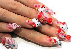 tokyo nail expo bubble gum hello kitty cute nails