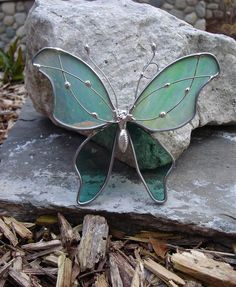 Spring Green Stained Glass Butterfly by dortdesigns on Etsy, $12.00