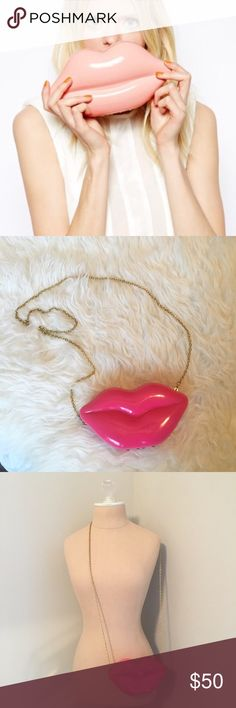 Bcbg Lips Clutch NWT 👄 BCBG pink lips hardshell clutch with gold chain. Never used!                                                                                                                 •n o  t r a d e s• •s m o k e  f r e e / p e t  f r e e  h o m e•   •s a m e / n e x t  d a y  s h i p p i n g• BCBGeneration Bags Clutches & Wristlets