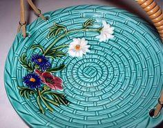 Image detail for -Majolica Pottery Basketweave, Flowers Daisy, Poppy, Aster Flowers ...