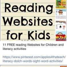 11 Free Reading Websites for Kids Kids Educational Crafts, Educational Websites, Science Crafts, Sight Word Activities, Literacy Activities, Guided Reading, Free Reading, Reading Websites For Kids, Online Games For Kids