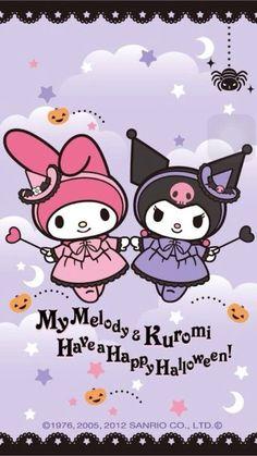 My Melody & Kuromi My Melody Wallpaper, Sanrio Wallpaper, Hello Kitty Wallpaper, Kawaii Wallpaper, Hello Kitty Cartoon, Hello Kitty My Melody, Hello Kitty Halloween, Halloween Fun, Little Twin Stars