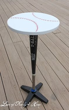 Make a baseball themed side table with a real bat