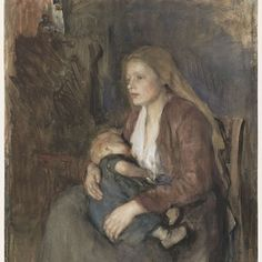 Noordse madonna, Albert Neuhuys (1844-1914), 1854 - 1914  brush, h 608mm × w 461mm