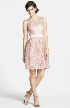 A&E wedding: Adrianna Papell Lace Fit & Flare Dress Wedding Guest Gowns, Wedding Attire, Wedding Dresses, Cute Dresses, Girls Dresses, Flower Girl Dresses, Formal Dresses, Fitted Bridesmaid Dresses, Bridesmaids
