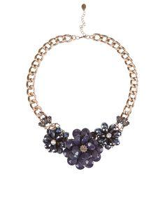 Sandrine Flower Statement Necklace | Navy | Accessorize