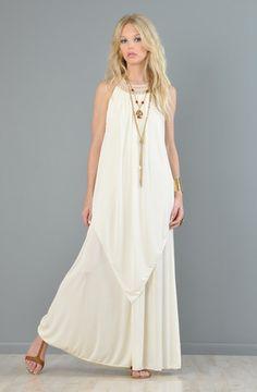 vtg 70s GODDESS draped CROCHET cutout hippie GRECIAN boho maxi wedding dress