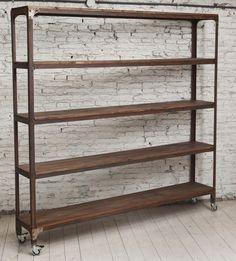 Biblioteca de 5 estantes en madera y hierro con ruedas. medidas